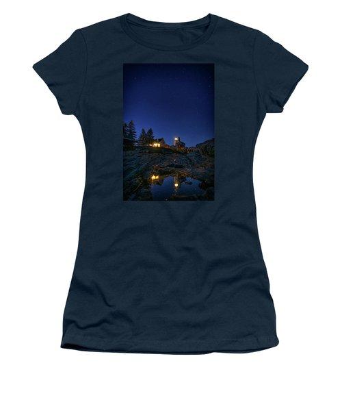 Under The Stars At Pemaquid Point Women's T-Shirt (Junior Cut) by Rick Berk