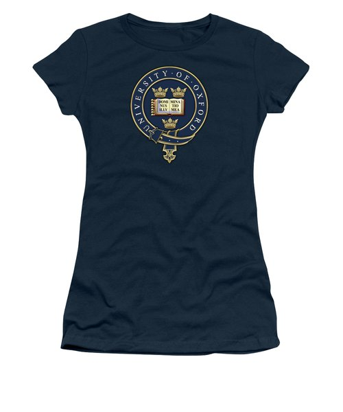 University Of Oxford Seal - Coat Of Arms Over Colours Women's T-Shirt (Junior Cut) by Serge Averbukh