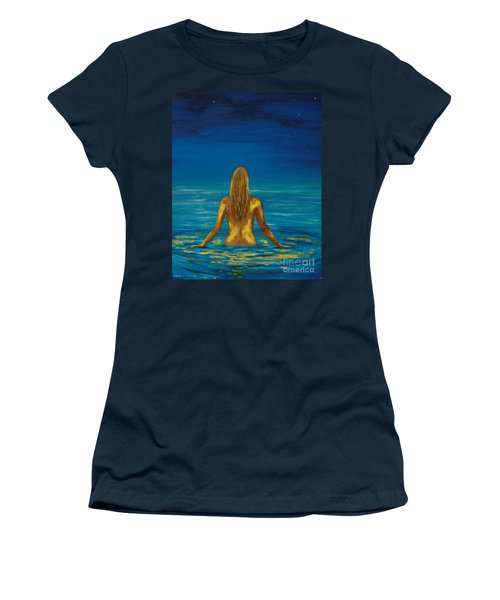 Women's T-Shirt (Athletic Fit) featuring the painting Unmasking Series 1 by Leslie Allen