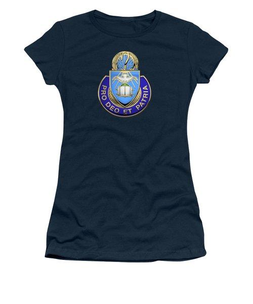 Women's T-Shirt (Junior Cut) featuring the digital art U. S. Army Chaplain Corps - Regimental Insignia Over Blue Velvet by Serge Averbukh