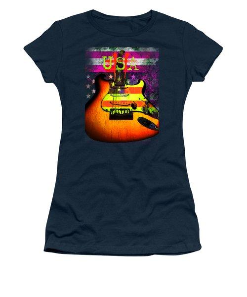 Women's T-Shirt featuring the digital art Usa Strat Guitar Music by Guitar Wacky