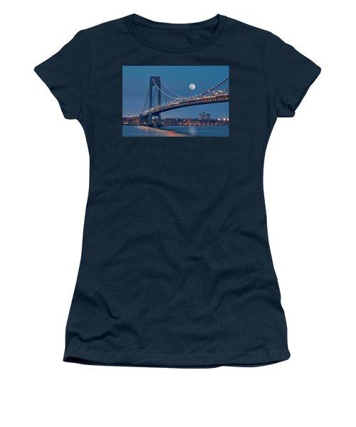 Women's T-Shirt (Junior Cut) featuring the photograph Verrazano Narrows Bridge Moon by Susan Candelario