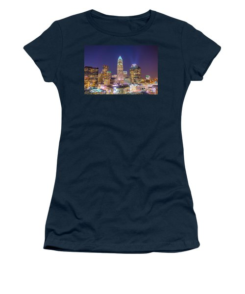 View Of Charlotte Skyline Aerial At Sunset Women's T-Shirt