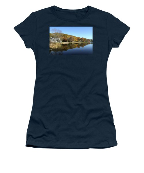 View Of Peaks Of Otter Lodge And Abbott Lake  In Autumn Women's T-Shirt (Junior Cut) by Emanuel Tanjala
