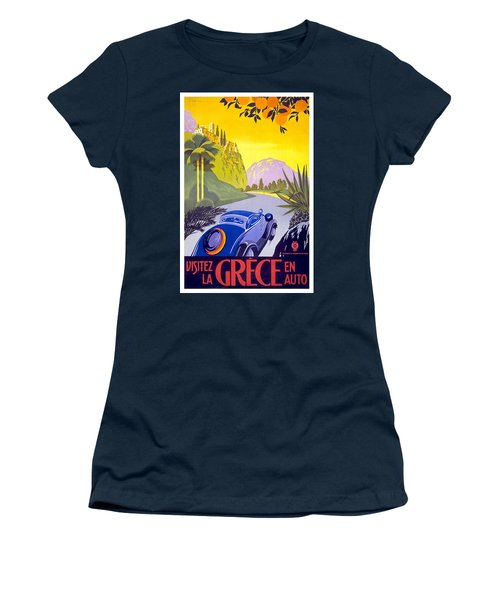 Vintage Blue Car In A Countryside Landscape In Greece - Vintage Travel Poster Women's T-Shirt