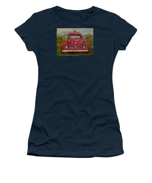 Vintage  Ford Fire Truck Women's T-Shirt (Junior Cut) by Belinda Lawson