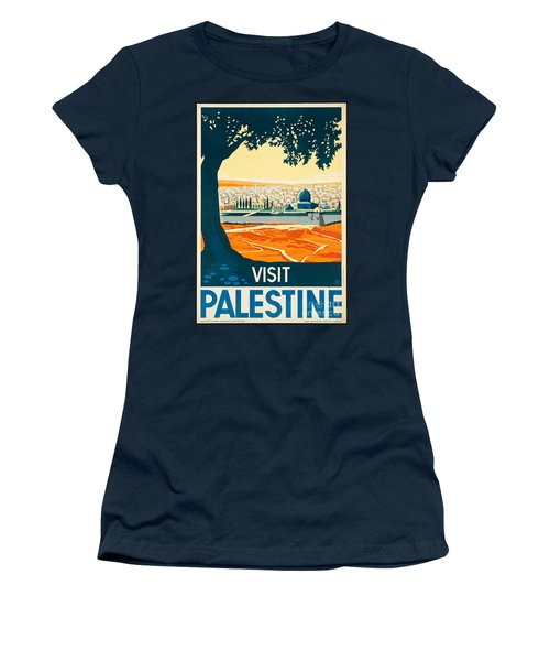 Vintage Palestine Travel Poster Women's T-Shirt (Athletic Fit)
