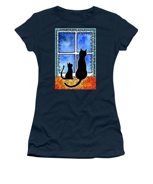 Women's T-Shirt (Athletic Fit) featuring the painting Waiting For Spring - Black Cat Card by Dora Hathazi Mendes