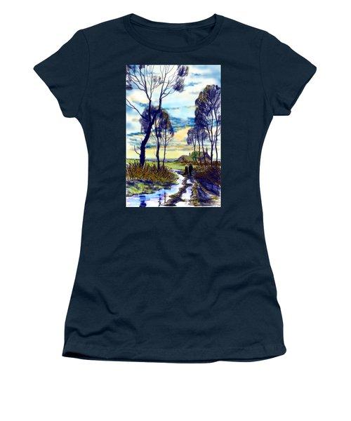 Walk On A Wet Road Women's T-Shirt