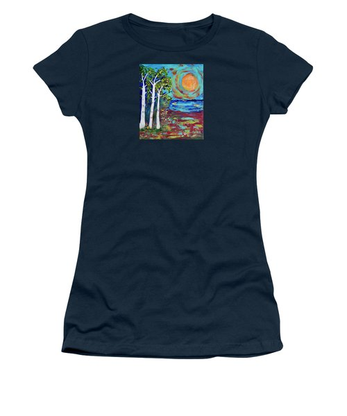 Women's T-Shirt (Junior Cut) featuring the painting Warmth Of The Sun by Haleh Mahbod