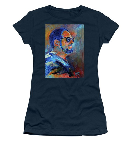 Women's T-Shirt (Junior Cut) featuring the painting Warren Gazing At The Surf by Walter Fahmy