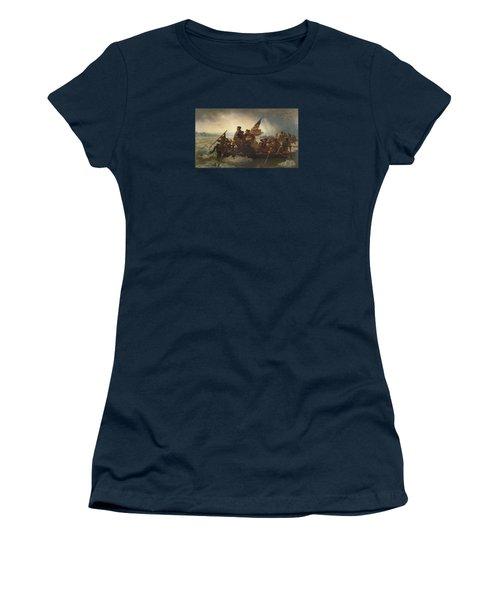 Washington Crossing The Delaware Painting  Women's T-Shirt (Junior Cut) by Emanuel Gottlieb Leutze