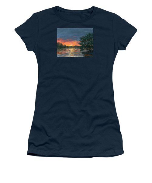 Women's T-Shirt (Junior Cut) featuring the painting Waterway Sundown by Kathleen McDermott