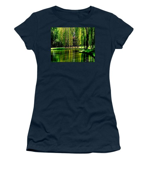Weeping Willow Tree Reflective Moments Women's T-Shirt (Junior Cut) by Carol F Austin