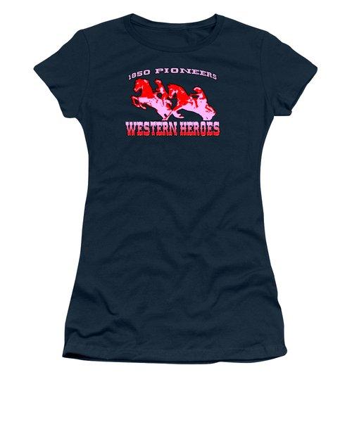 Western Heroes 1850 Pioneers - Tshirt Design Women's T-Shirt (Junior Cut) by Art America Gallery Peter Potter