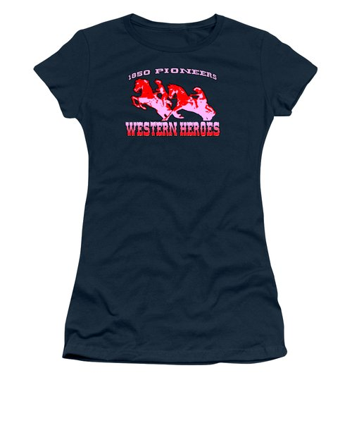 Western Heroes 1850 Pioneers - Tshirt Design Women's T-Shirt (Junior Cut)