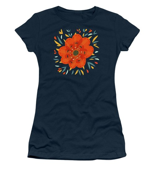 Whimsical Decorative Orange Flower Women's T-Shirt