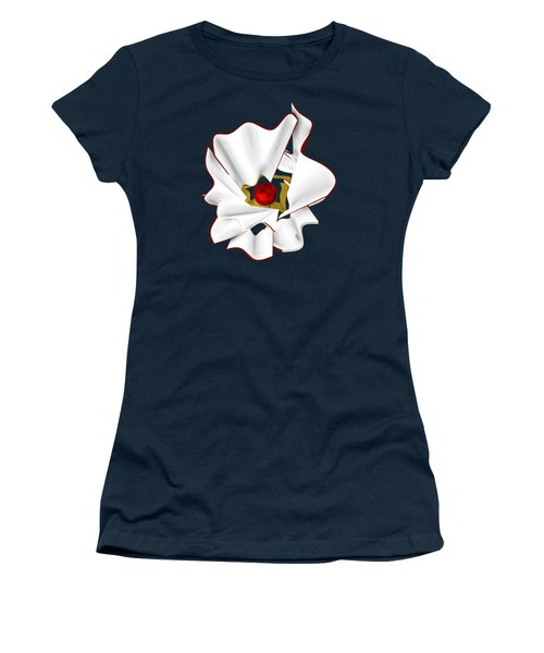 White Abstract Flower Women's T-Shirt