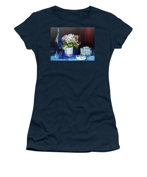 Women's T-Shirt (Athletic Fit) featuring the painting White African Violets by Marlene Book