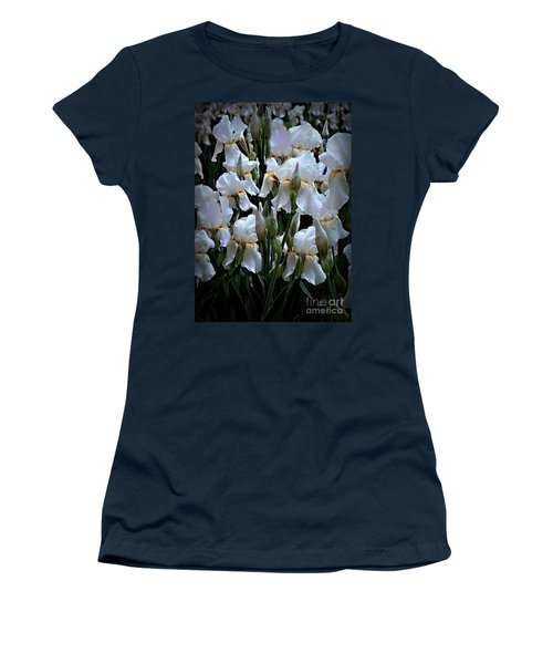 White Iris Garden Women's T-Shirt (Junior Cut) by Sherry Hallemeier