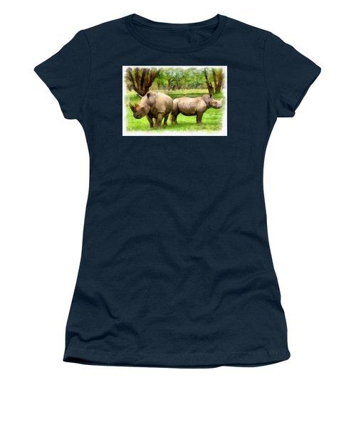 Women's T-Shirt (Junior Cut) featuring the painting White Rhinos by Maciek Froncisz