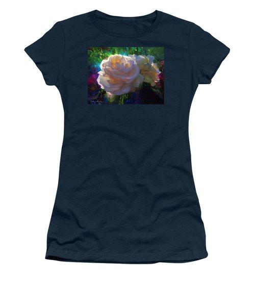 White Roses In The Garden - Backlit Flowers - Summer Rose Women's T-Shirt