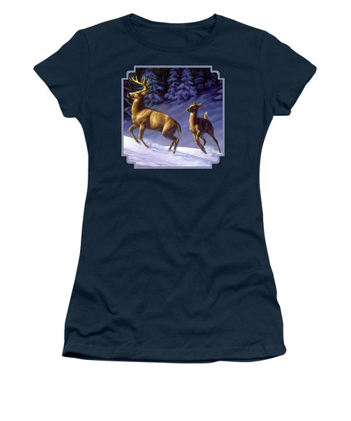 Whitetail Deer Painting - Startled Women's T-Shirt (Junior Cut) by Crista Forest