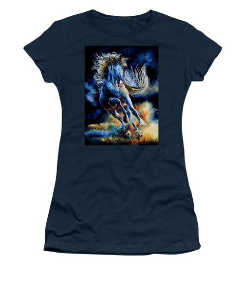 Women's T-Shirt (Athletic Fit) featuring the painting Wild And Free by Hanne Lore Koehler