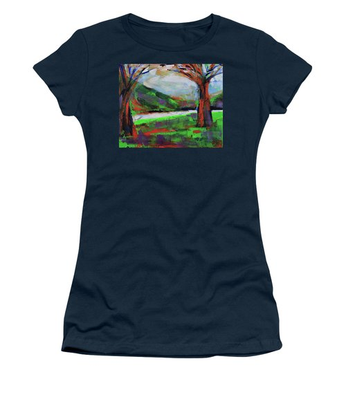 Women's T-Shirt (Athletic Fit) featuring the painting Wild Flowers On The River Banks by Walter Fahmy