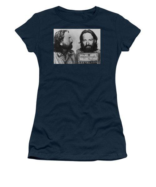 Willie Nelson Mug Shot Horizontal Black And White Women's T-Shirt