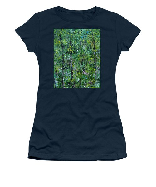 Women's T-Shirt (Athletic Fit) featuring the painting Windsor Way Woods by Judith Rhue