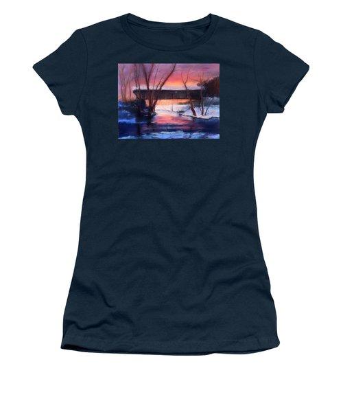 Winter At Bennett's Mill Women's T-Shirt (Junior Cut) by Gail Kirtz