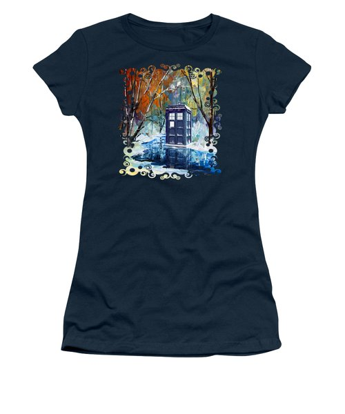 Winter Blue Phone Box Women's T-Shirt (Athletic Fit)