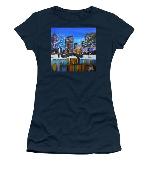 Winter In New York- Night Landscape Women's T-Shirt (Athletic Fit)