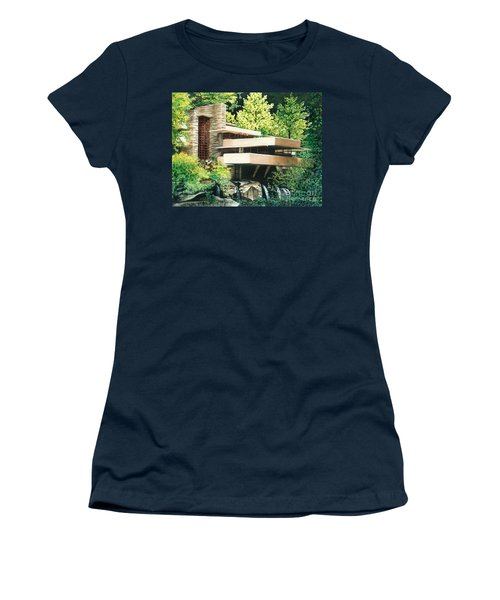 Women's T-Shirt (Junior Cut) featuring the painting Fallingwater-a Woodland Retreat By Frank Lloyd Wright by Barbara Jewell