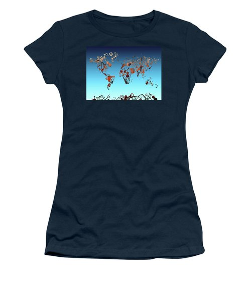 Women's T-Shirt (Junior Cut) featuring the digital art World Map Music 6 by Bekim Art