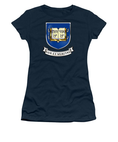 Yale University Seal - Coat Of Arms Over Colours Women's T-Shirt (Junior Cut) by Serge Averbukh