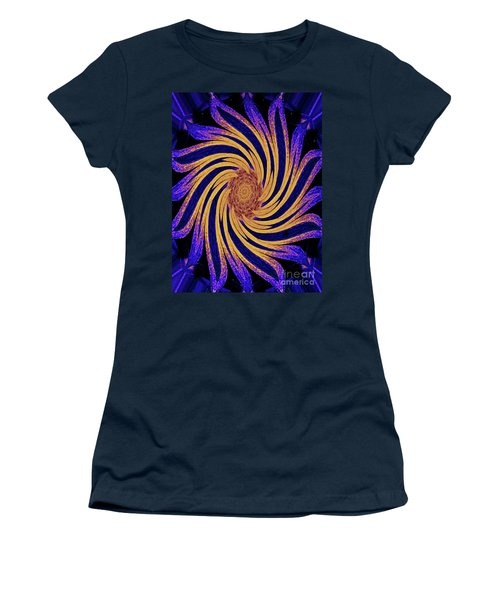 Women's T-Shirt (Athletic Fit) featuring the digital art Yellow And Purple Rotational Modern Geometrical Art by Merton Allen