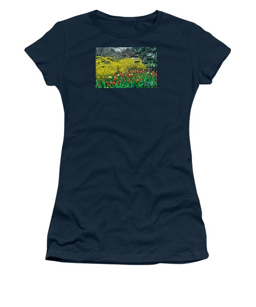 Women's T-Shirt (Junior Cut) featuring the photograph Yellow Forsythia by Diana Mary Sharpton