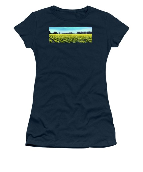 Yellow Tulip Fields Women's T-Shirt (Junior Cut) by David Patterson