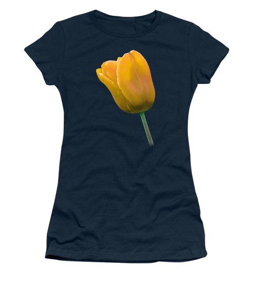 Yellow Tulip On Black Women's T-Shirt (Athletic Fit)