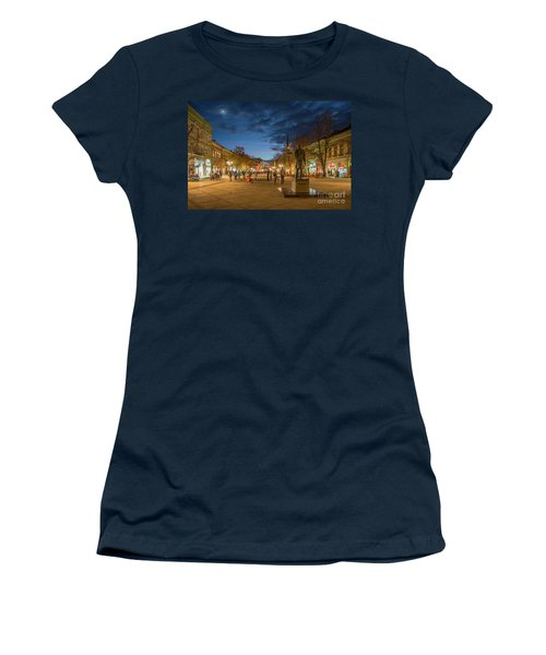 Zmaj Jovina Street In Moonlight Women's T-Shirt (Junior Cut) by Jivko Nakev