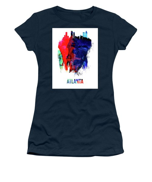 Atlanta Skyline Brush Stroke Watercolor   Women's T-Shirt