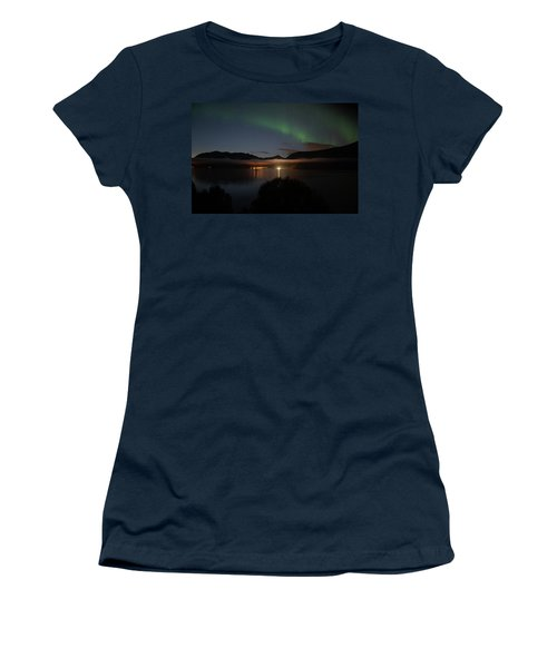 Aurora Northern Polar Light In Night Sky Over Northern Norway Women's T-Shirt
