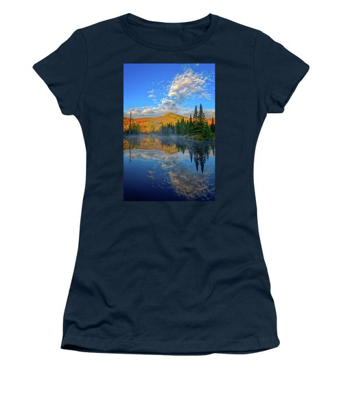 Women's T-Shirt featuring the photograph Autumn Sky, Mountain Pond by Jeff Sinon