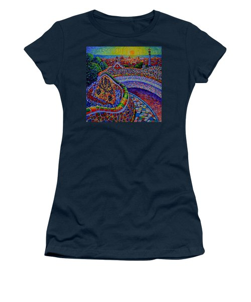 Barcelona Park Guell Sunrise Modern Impressionist Impasto Knife Oil Painting Ana Maria Edulescu Women's T-Shirt