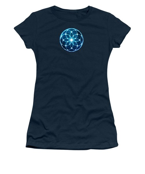 Blue Cosmic Geometric Flower Mandala Women's T-Shirt