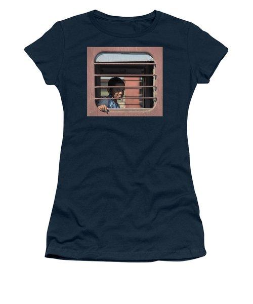 Boy On A Train Women's T-Shirt