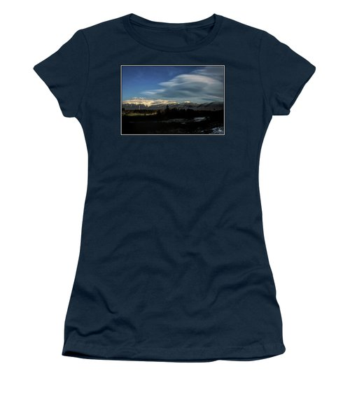 Women's T-Shirt featuring the photograph Cloud Lens Over The Presidential Range by Wayne King