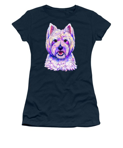 Colorful West Highland White Terrier Blue Background Women's T-Shirt